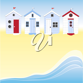 Royalty Free Clipart Image of Beach Huts
