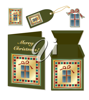 Royalty Free Clipart Image of a Christmas Card, Box, Stickers and Tag