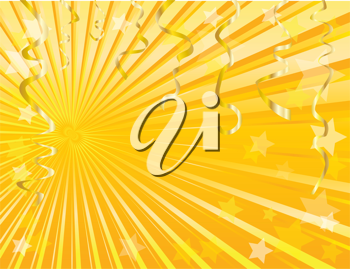 Royalty Free Clipart Image of a Gold Background With Streamers