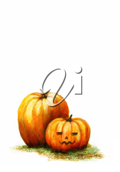 Royalty Free Clipart Image of a Watercolour of Pumpkins With One Carved