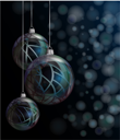 Royalty Free Clipart Image of Three Hanging Christmas Ornaments on a Bokeh Effect Background