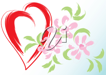 Royalty Free Clipart Image of Pink Flowers and a Red Heart