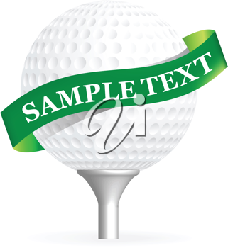 Royalty Free Clipart Image of a Golf Ball With a Band for Text