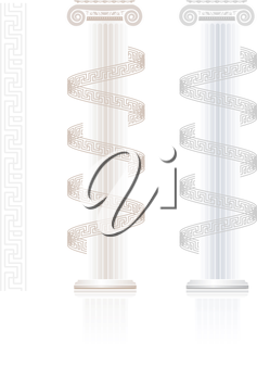 Ionic Column with Greek key pattern on white