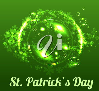 St Patricks day. Vector background with clover leaves and beer bubbles