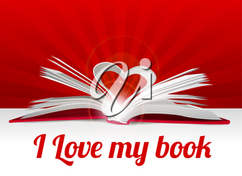 Heart from book pages. Vector illustration on red
