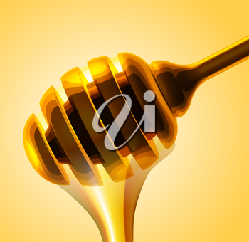Honey stick vector close up illustration on yellow background