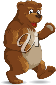 Brown bear in cartoon style isolated on white. Vector illustration