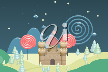 Cartoon castle and candy in the wild, raster illustration. Computer digital drawing.