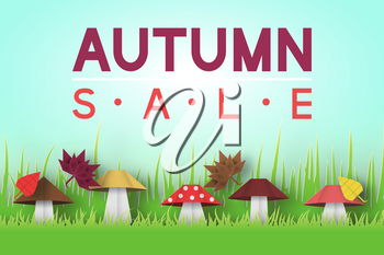 Paper Origami Autumn Sale Discount Card for Fall Season. Cut Elements with Typographic Text illustrate the Advertising Coupon. Papercut Style. Cutout Trend. Vector Graphics Illustrations Art Design.