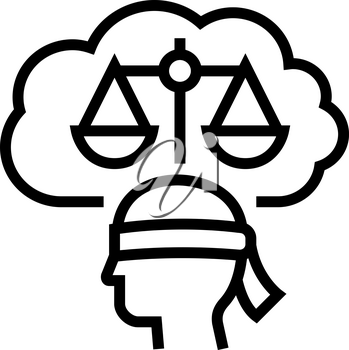 law philosophy line icon vector. law philosophy sign. isolated contour symbol black illustration