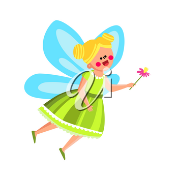 Fairy Girl In Beautiful Costume With Flower Vector. Happy Attractive Fairy Girl Wearing Suit With Wings And Floral Plant. Character Little Lady Child In Princess Dress Flat Cartoon Illustration