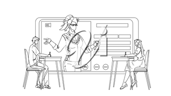 Digital Classroom Educational Web Lecture Black Line Pencil Drawing Vector. Boy And Girl Sitting At Desk And Listening Teacher Internet Online Classroom On Tablet Screen. Characters Lesson Illustration