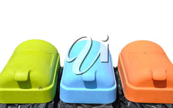 Royalty Free Photo of Three Recycling Containers
