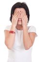 Royalty Free Photo of a Woman Covering Her Eyes