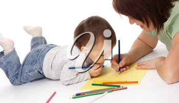 Royalty Free Photo of a Mother and Child Drawing