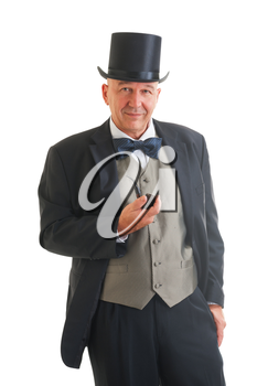 Middle aged  businessman in a retro business suit with smoking pipe isolated on white