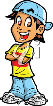 Royalty Free Clipart Image of a Happy Boy With His Arms Crossed