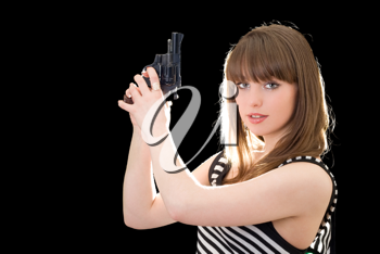 Royalty Free Photo of a Woman Holding a Gun