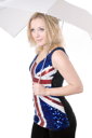 Royalty Free Photo of a Woman in a Union Jack Shirt