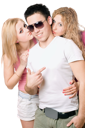Royalty Free Photo of Two Girls and a Boy