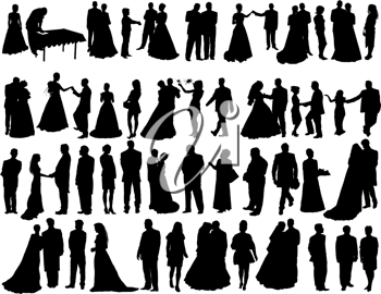 Royalty Free Clipart Image of Wedding Silhouettes