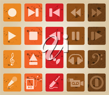 Vector collection of different music themes icons. Retro style.