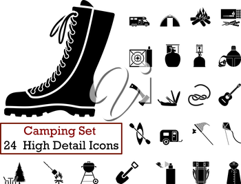 Set of 24 Camping Icons in Black Color.