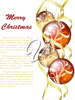 Elegant Christmas Greeting Card With Ribbons, Balls and Snowflakes on it.White Background with Text Space.  Also Suitable for Ney Year Cute Design. Vector Illustration.