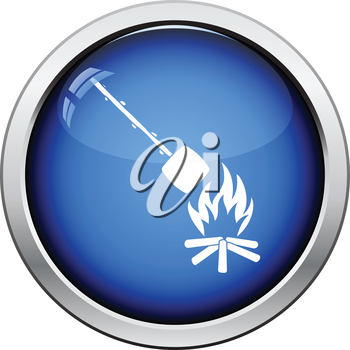 Camping fire with roasting marshmallo  icon. Glossy button design. Vector illustration.