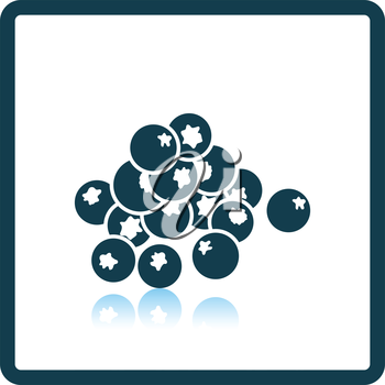 Icon of Blueberry. Shadow reflection design. Vector illustration.