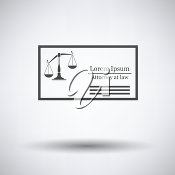 Lawyer business card icon on gray background with round shadow. Vector illustration.