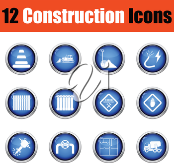 Construction icon set.  Glossy button design. Vector illustration.