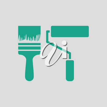 Icon of construction paint brushes. Gray background with green. Vector illustration.