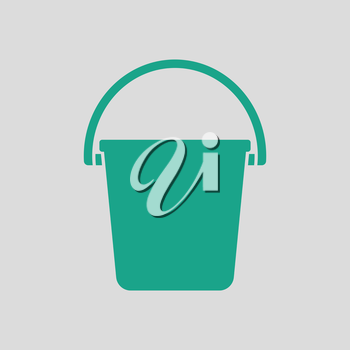 Icon of bucket. Gray background with green. Vector illustration.