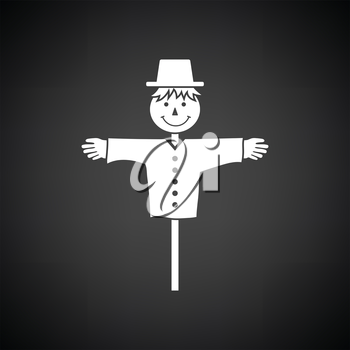 Scarecrow icon. Black background with white. Vector illustration.