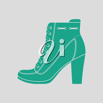 Ankle boot icon. Gray background with green. Vector illustration.