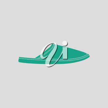 Man home slipper icon. Gray background with green. Vector illustration.