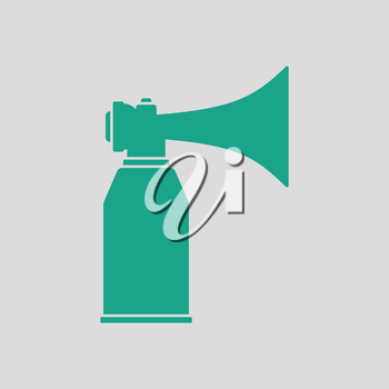 Football fans air horn aerosol icon. Gray background with green. Vector illustration.