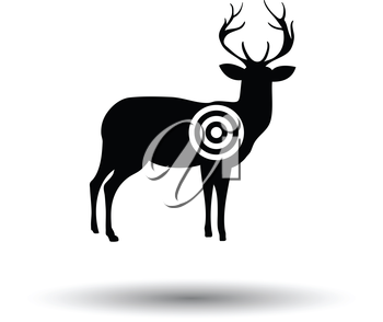 Deer silhouette with target  icon. White background with shadow design. Vector illustration.
