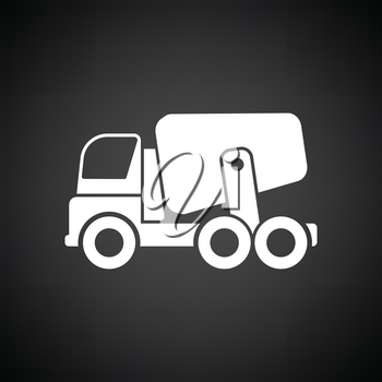 Icon of Concrete mixer truck . Black background with white. Vector illustration.