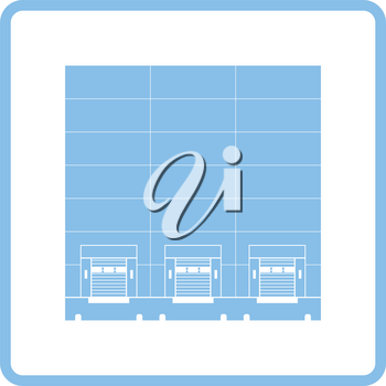 Warehouse logistic concept icon. Blue frame design. Vector illustration.