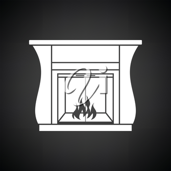Fireplace with doors icon. Black background with white. Vector illustration.