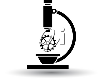 Research Icon. Black on White Background With Shadow. Vector Illustration.