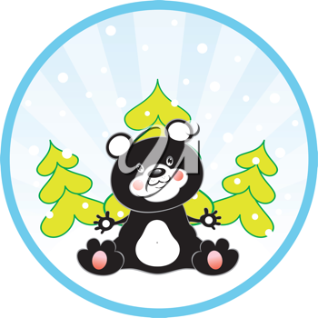 Royalty Free Clipart Image of a Panda Bear and Evergreens