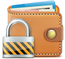Royalty Free Clipart Image of a Wallet and Padlock
