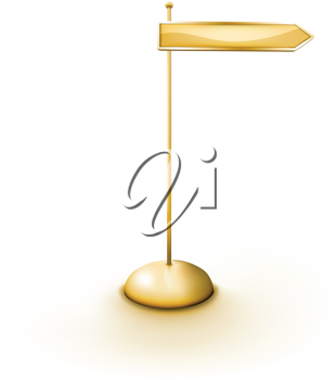 Royalty Free Clipart Image of a Golden Sign