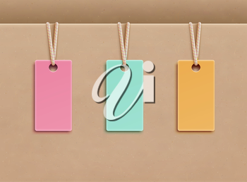 Vector illustration of blank price tags in three different colors over paper background