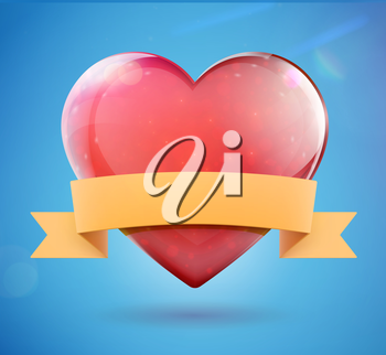 Vector illustration of glossy heart shape with retro banner for your own text