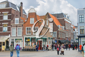 DELFT, THE NETHERLANDS - APRIL 7, 2012 : The central square  in Delft. Netherlands